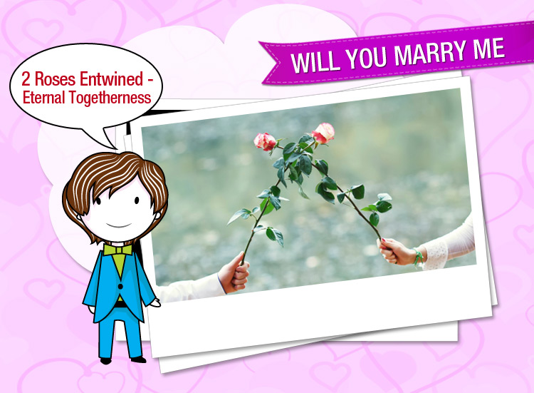 Will you marry me & be mine forever, Signifies two roses entwined together.