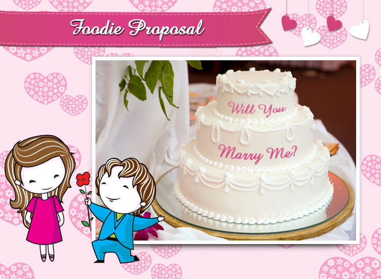 A lovely cake to propose the beauty, make your proposal sweet & foodie.
