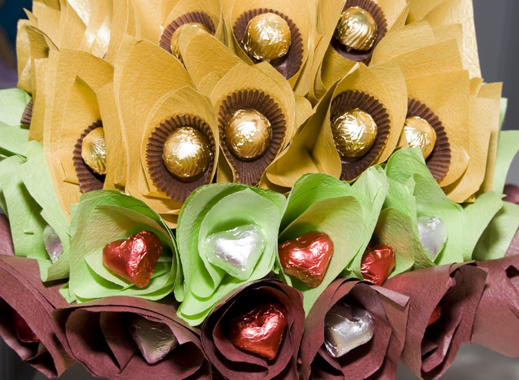 Chocolate bouquet, to let you know that I love you moreover so.