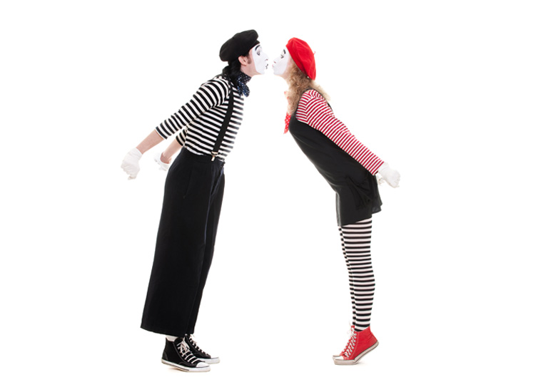 Who needs words when we can mime, our love for each other anytime.