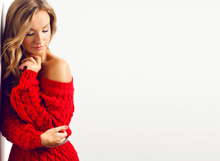 Sometimes more can be less, when you're in this hot red sweater-dress.