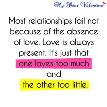 Cute love quotes - Most relationships fail not because