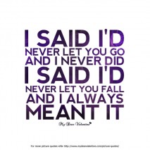 Beautiful Love Quotes - I said I d never let you