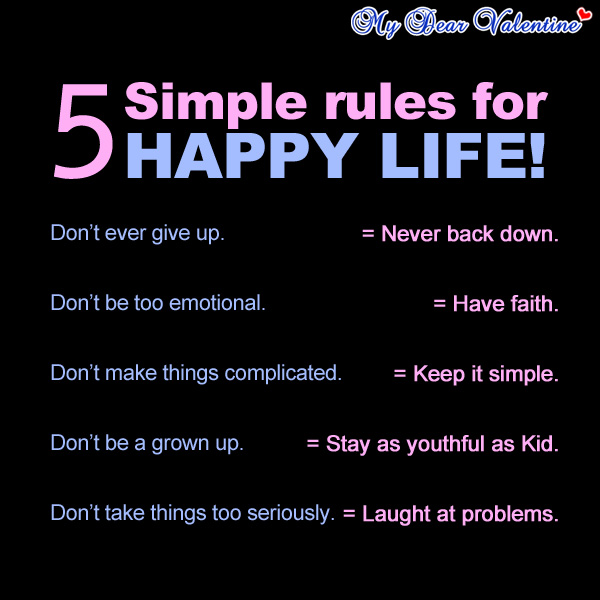 Happy Quote About Life Entrancing 5 Simple Rules For Happy Life