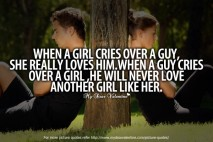 Deep Love Quotes - When a girl cries over a guy