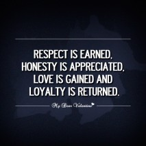 Girlfriend Quotes - Respect is earned Honesty is appreciated