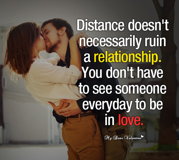 Love Picture Quotes - Distance doesn't necessarily