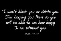 Sad love picture quotes - I won't block you