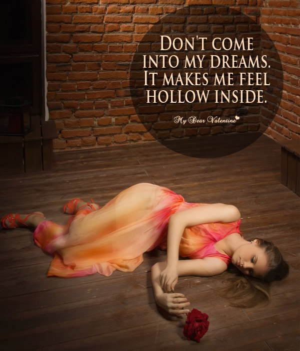 Sad Love Picture Quote - Hollow inside