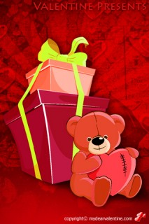 a teddy bear with valentine gifts