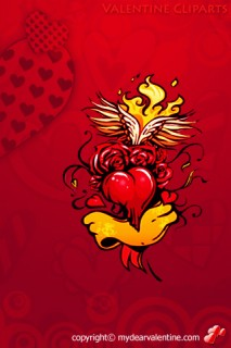 valentine clipart red and yellow heart