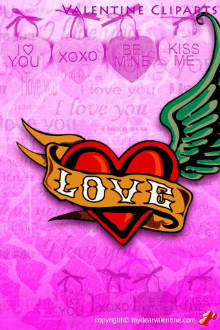 pink valentine heart with wings