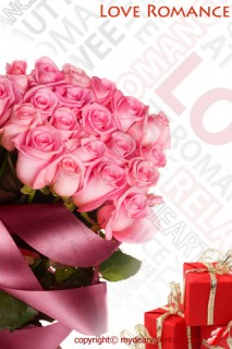 bouquet of pink roses and gifts