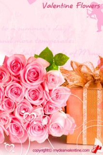bouquet of pink valentine roses
