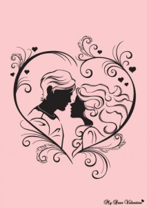 Couple kissing heart valentine
