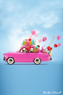 Valentine Balloons - Pink car full of red balloons