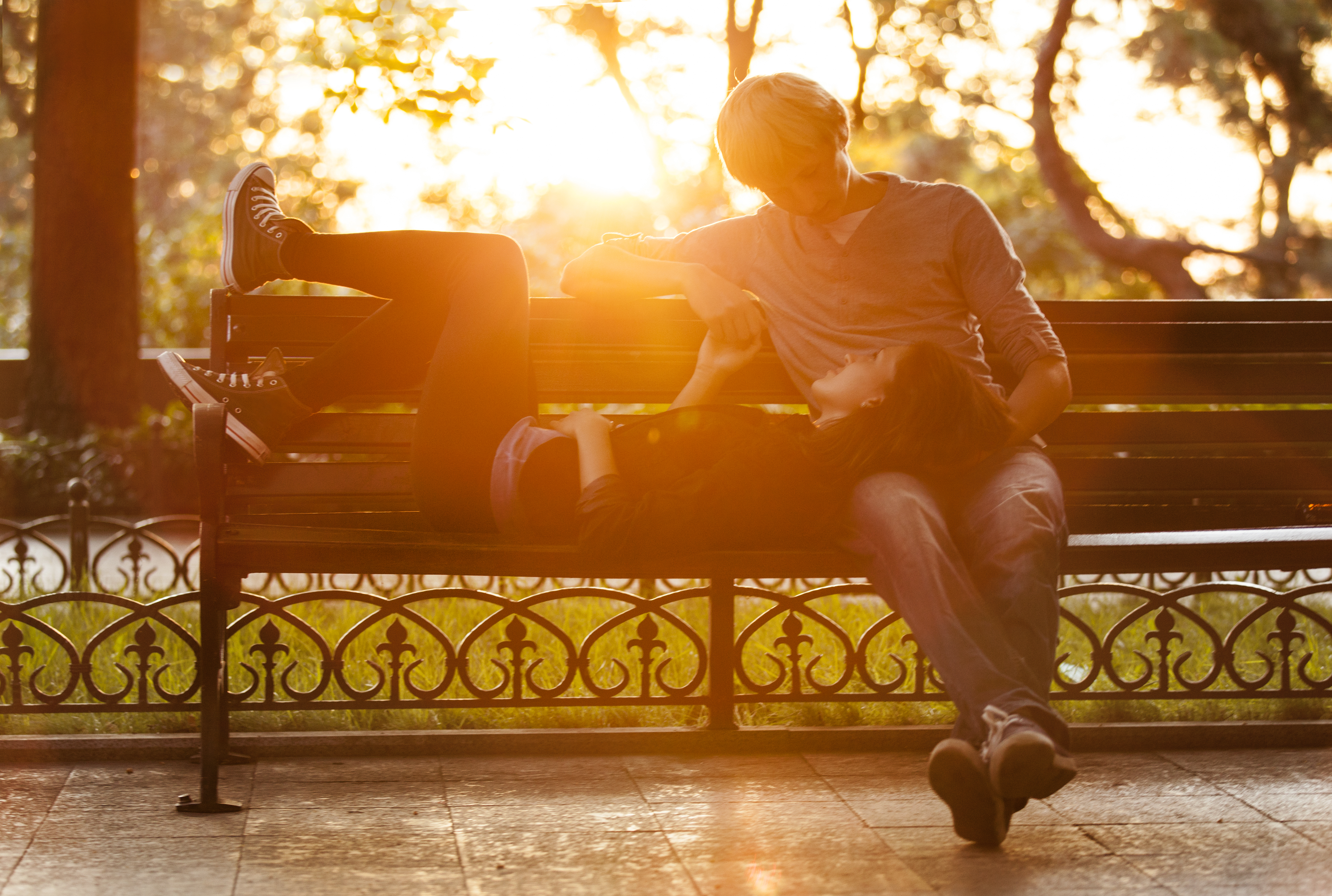 Romantic couple on bench